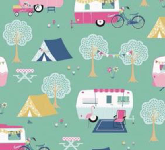 C-8480 Mint, I'd Rather Be Glamping (100% Cotton, Sold 1/4m Increments)