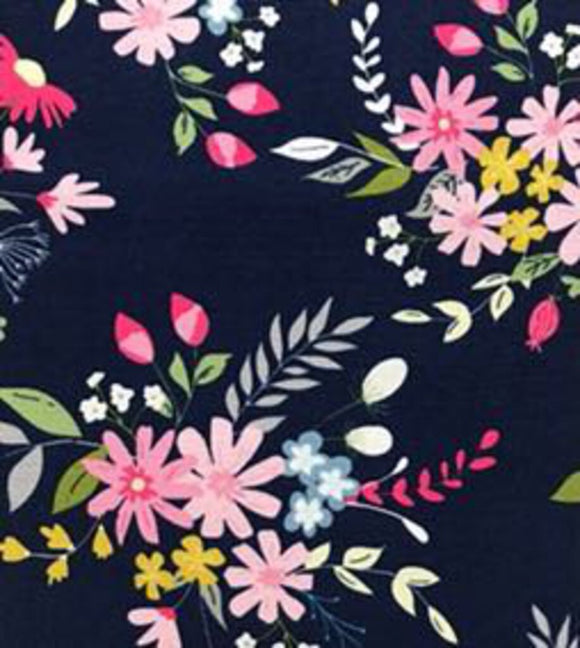 In The Meadow C7990 Navy (100% Cotton, Sold 1/4m Increments)