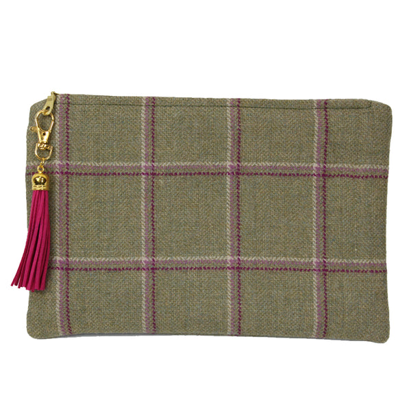 Medium Clutch bag in Gooseberry Tweed