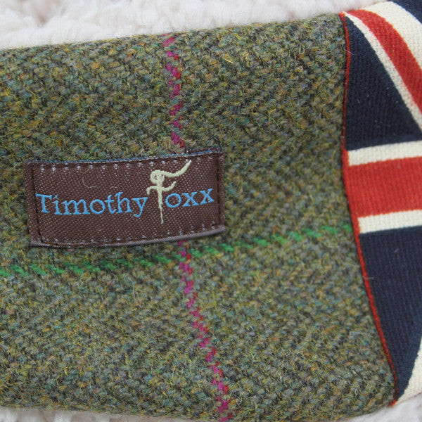 Union Jack Tweed Ear Warmer in Coral