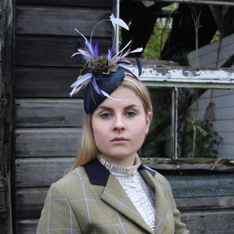 Feather, Tweed & Sinamay Fascinator in Amber