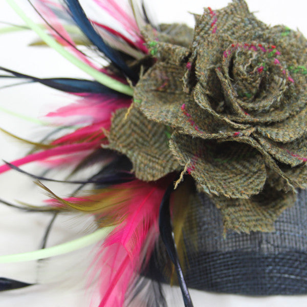Feather, Tweed & Sinamay Fascinator in Coral