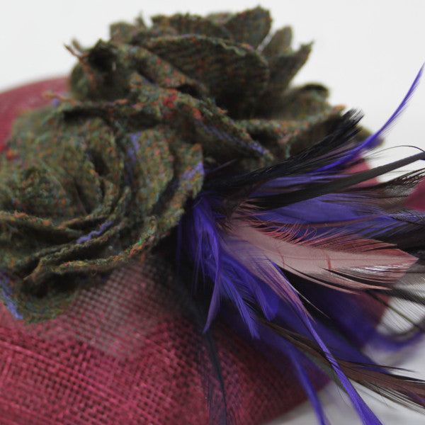 Feather, Tweed & Sinamay Fascinator in Duchess