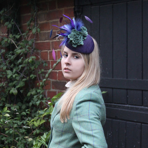 Feather, Tweed & Sinamay Fascinator in Eliza