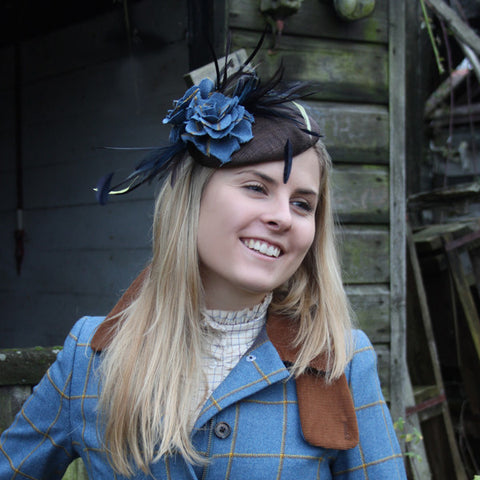Feather, Tweed & Sinamay Fascinator in Foxglove