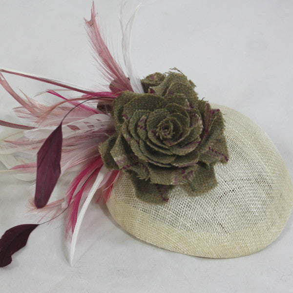 Feather, Tweed & Sinamay Fascinator in Gooseberry