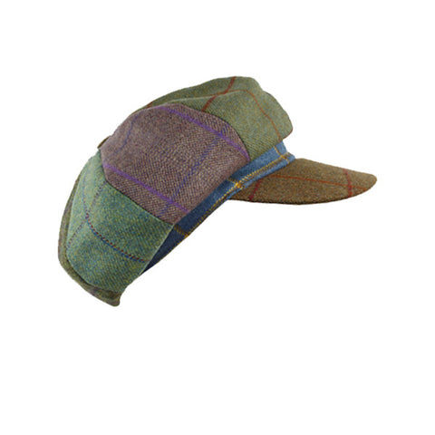 Lindsey patchwork Tweed Cap - Brown Peak