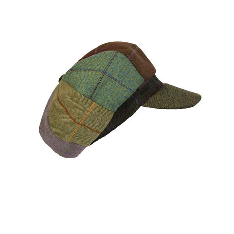 Lindsey Patchwork Tweed Cap - Coral Green Peak