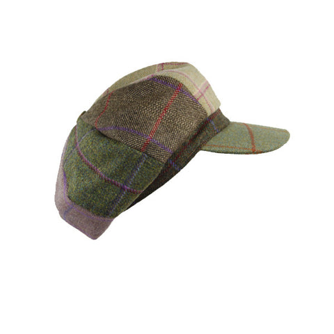 Lindsey Patchwork Tweed Cap - Leaf Green Peak