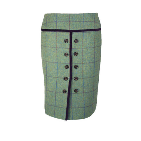 Maud Tweed Skirt with Flat Front in Eliza