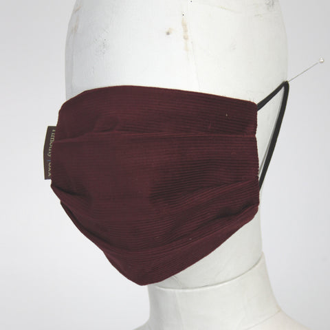 Face Mask in Maroon Corduroy