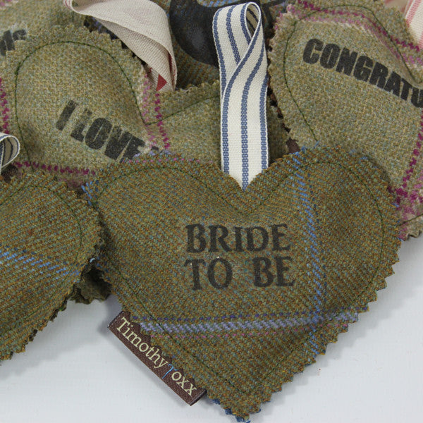 Wedding themed Tweed Note Hearts