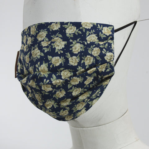 Face Mask in Navy & Ceam Flowers