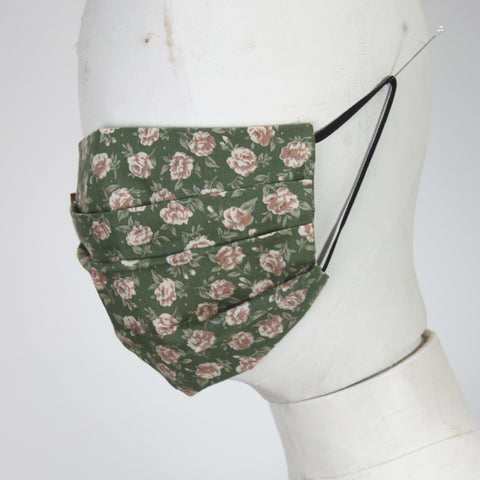 Face Mask in Cream Roses on Green