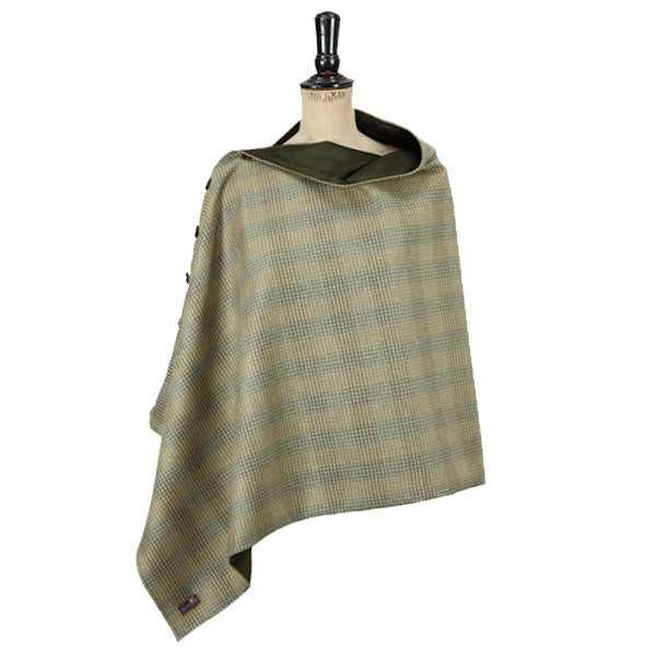 Deluxe Tweed and Silk Wrap in Bracken & Olive