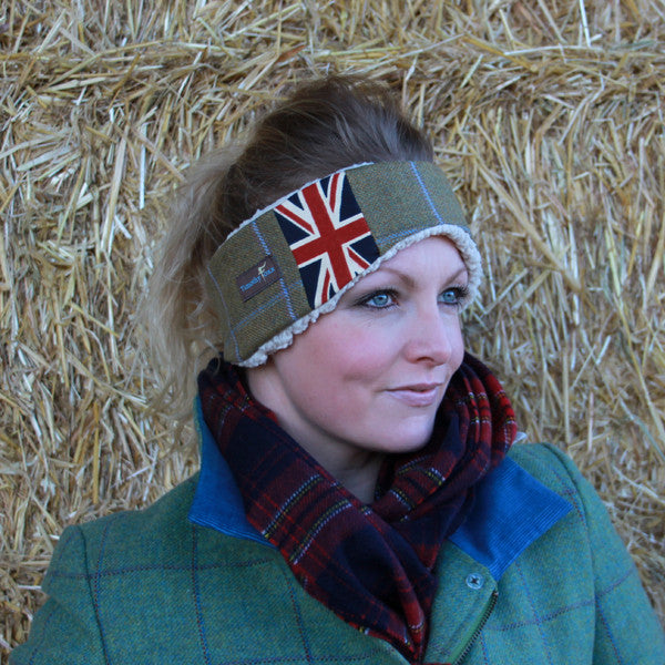 Union Jack Tweed Ear Warmer in Amber