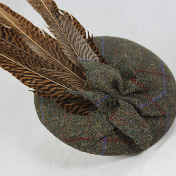 Tweed and Feather Button Fascinator