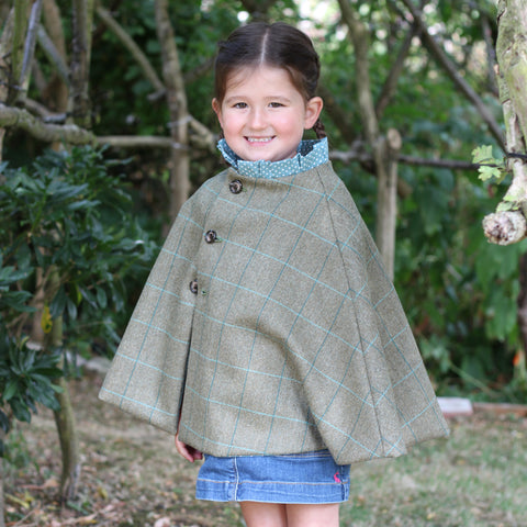 Mini Foxx Tweed Cape in Aquamarine