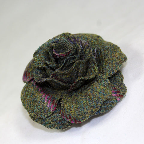 Tweed Rose Hair Clip & Brooch