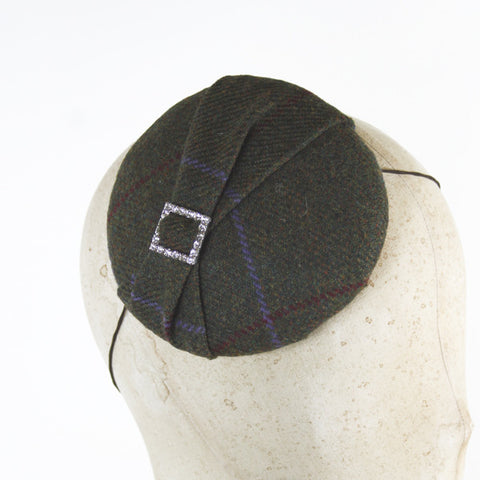 Tweed Fascinator with Diamante Buckle