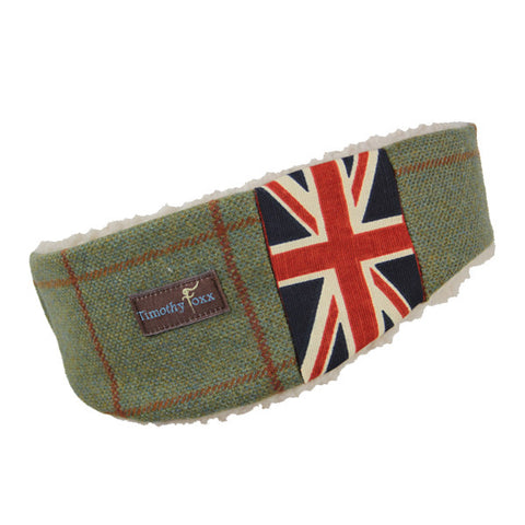 Union Jack Tweed Ear Warmer in Leaf