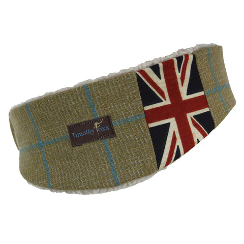 Union jack Tweed Ear Warmer in Lagoon