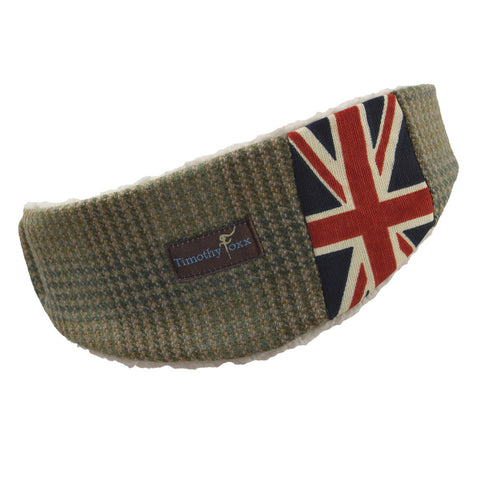 Union Jack Tweed Ear Warmer in Bracken