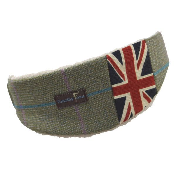 Union Jack Tweed Ear Warmer in Bubblegum