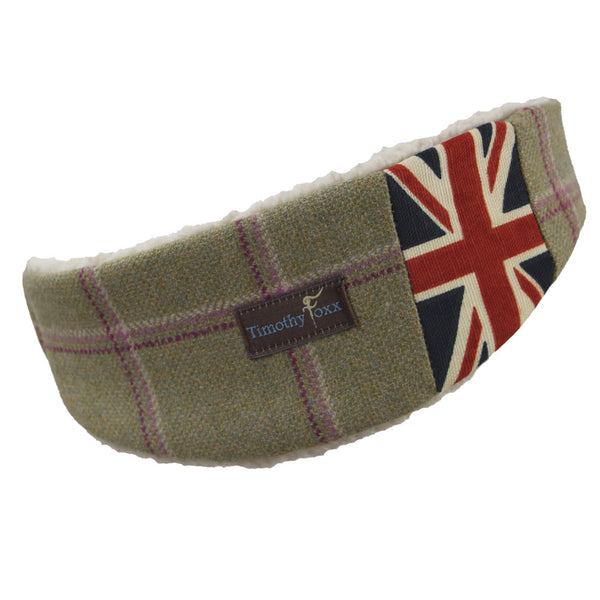 Union Jack Tweed Ear Warmer in Gooseberry