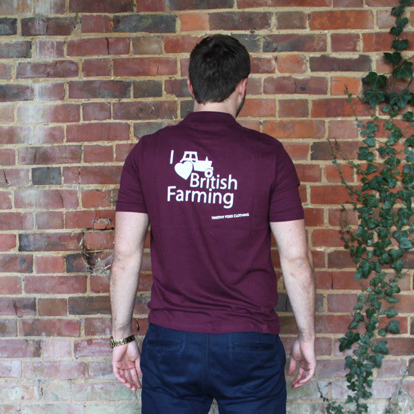 I Heart British Farming Charity Polo Shirts - Mens Claret