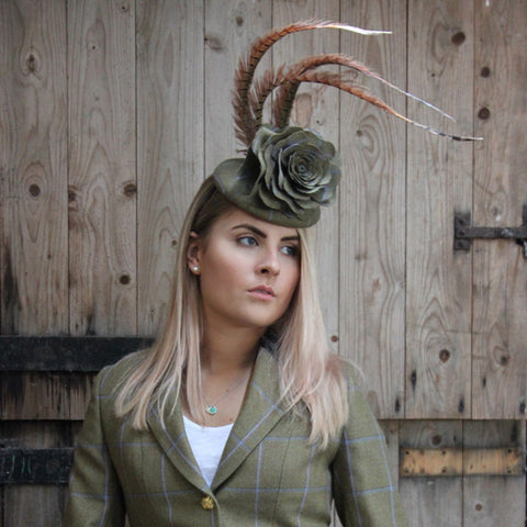 Tweed Rose fascinator with curled Feathers