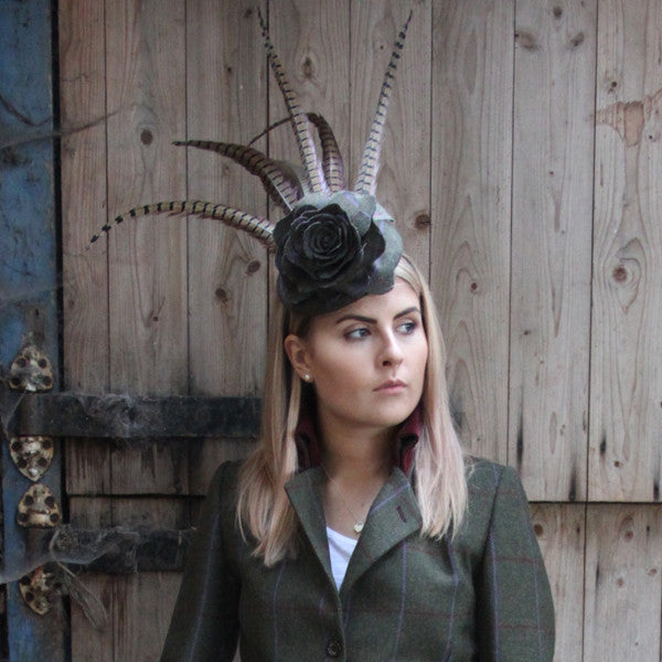 Tweed Rose Fascinator with Feather Plumage