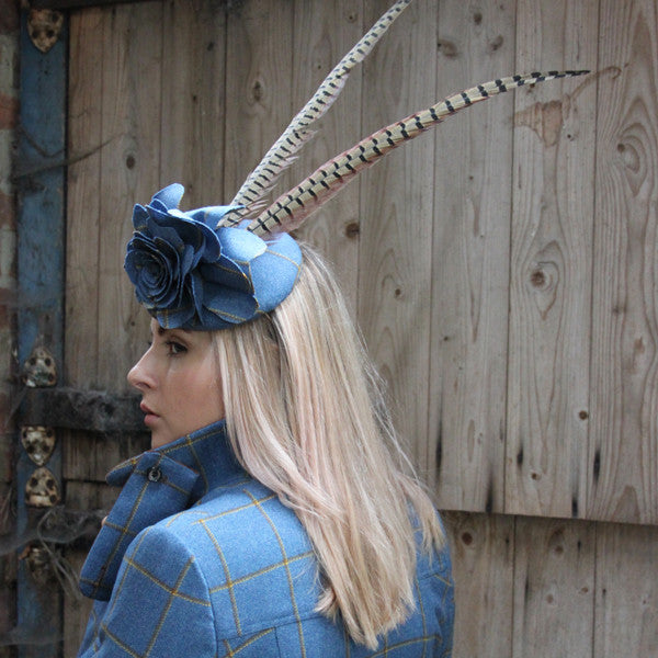 Tweed Rose Fascinator with Tail Feathers