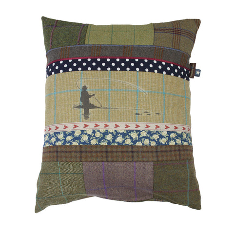 Fishing Tweed Cushion