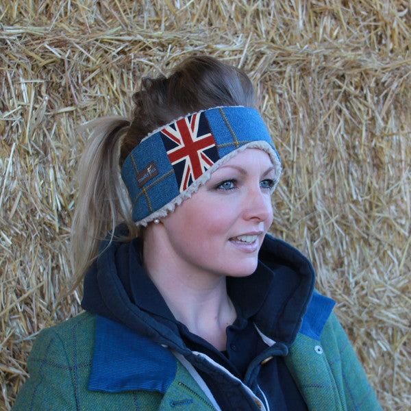 Union Jack Tweed Ear Warmer in Foxglove