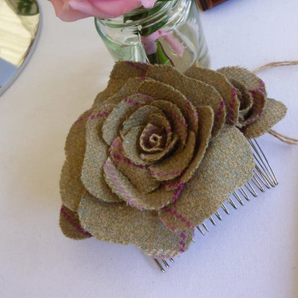 Hair Slide Tweed Roses