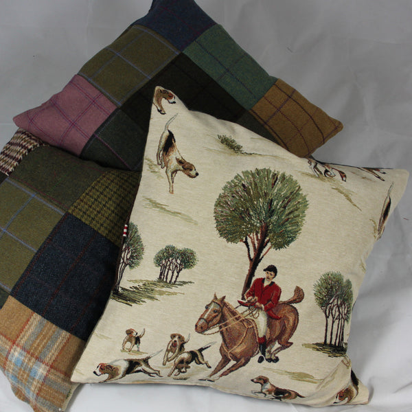 Tweed Cushions with Hounds & Horses