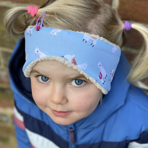 Children's Earwarmer in Blue Lama