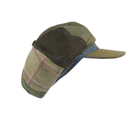 Lindsey Patchwork Tweed Cap - Amber Green Peak