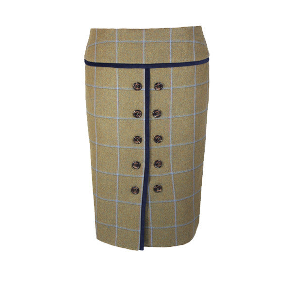 Maud Tweed Skirt with Flat Front in Amber