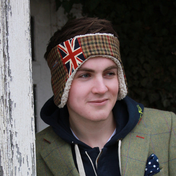 Tweed Ear Warmers - for the Guys in Lime