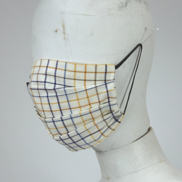 Face Mask in Blue and Gold Checks