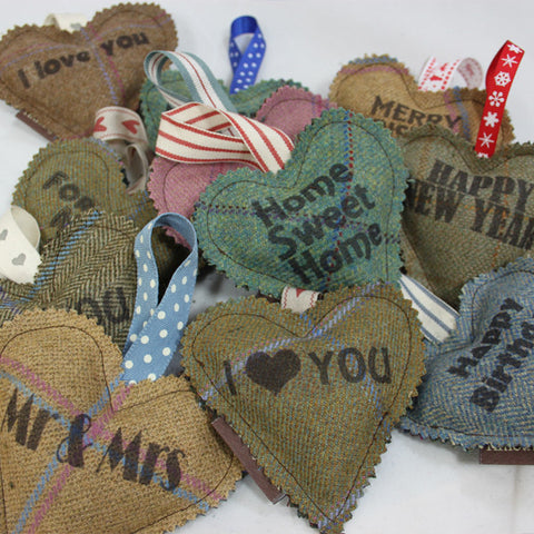 Tweed Note Hearts