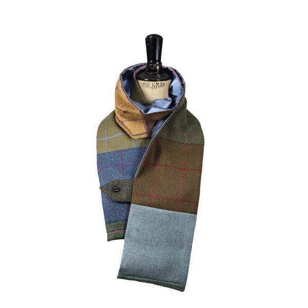 Patchwork Tweed & Silk Scarf