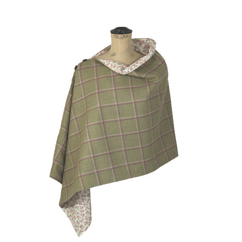 Tweed Poncho in Gooseberry