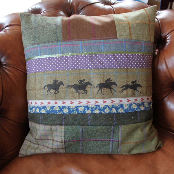 Galloping Horse Tweed Cushion