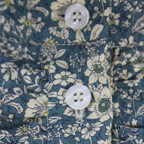 Floral Ruffle Shirt  - Blue with Cream Flowers