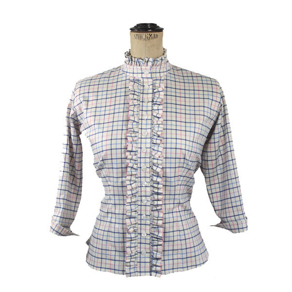 Ruffle Check Shirt - Pink & Blue