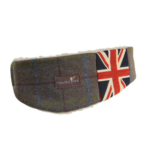 Union Jack Tweed Ear Warmer in Slate