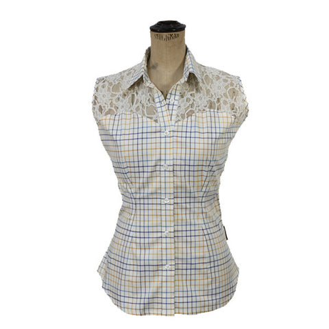 Sleeveless Shirt with Half Lace - Blue & Gold